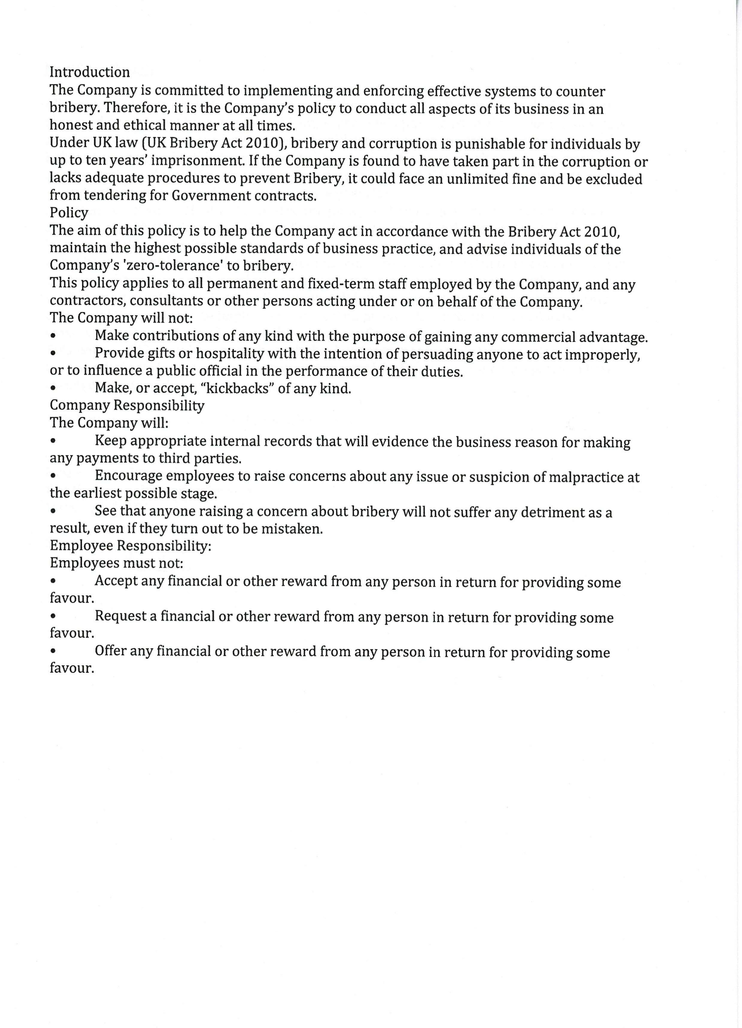 Anti-Bribery Policy page 3