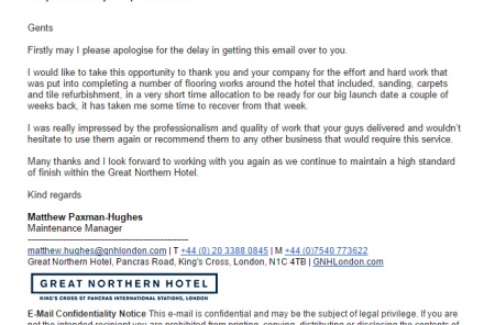 Great Northern Hotel Testimonial