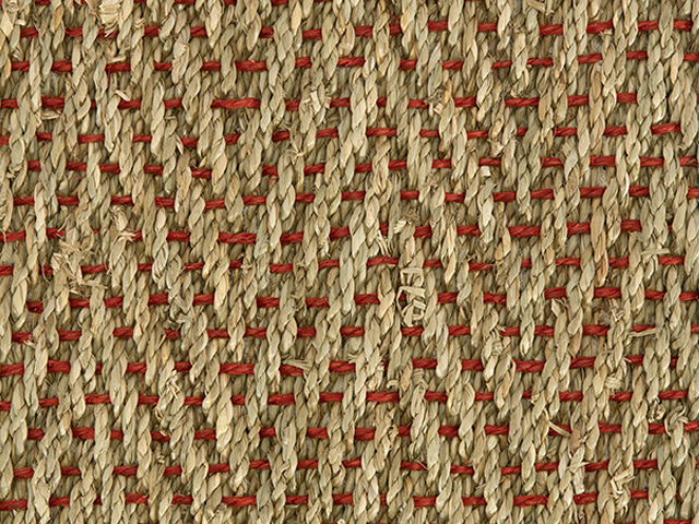 Crucial Trading Seagrass Herringbone Red Weft