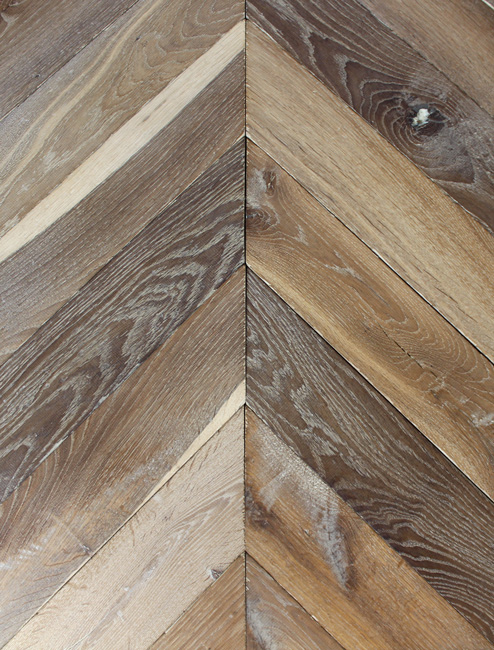 Rover's Flooring - Special Design Floors - Planed Oak Chevron detailed