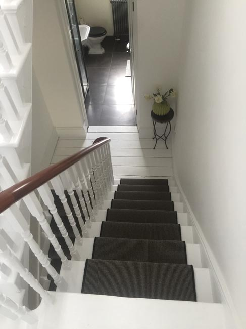 portfolio carpets dark grey stair carpet with black whipping 09