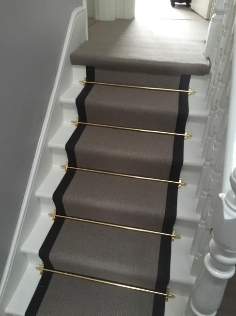 portfolio carpets grey stairs black border golden stairrods 12
