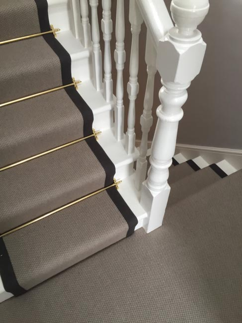 portfolio carpets grey stairs black border golden stairrods 13