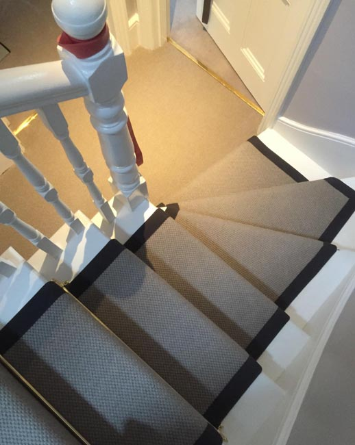 portfolio carpets grey stairs black border golden stairrods 14