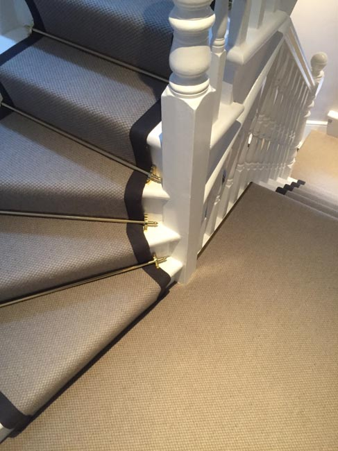 portfolio carpets grey stairs black border golden stairrods 15