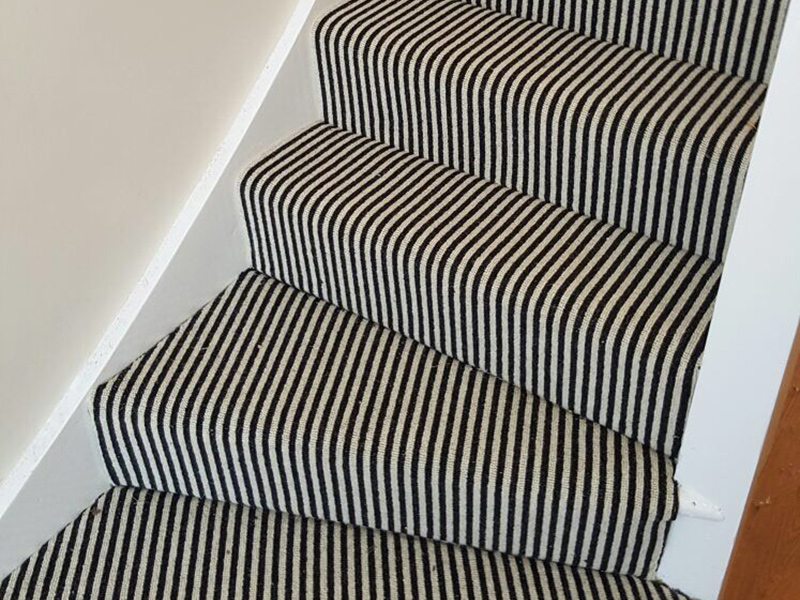 Grey And White Carpet Runner: Stairs, Black And White Striped Carpet
