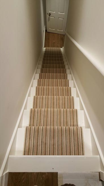Portfolio Striped Carpet Stair Runner With Brass Stairrods