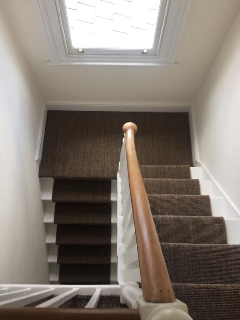 portfolio carpets dark sisal stairs installation runner 05