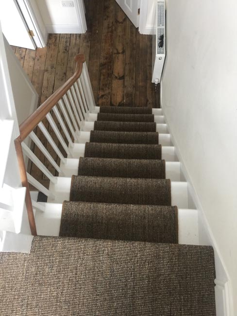 portfolio carpets dark sisal stairs installation runner 06