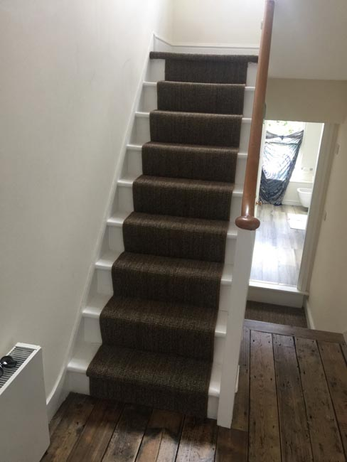 portfolio carpets dark sisal stairs installation runner 07