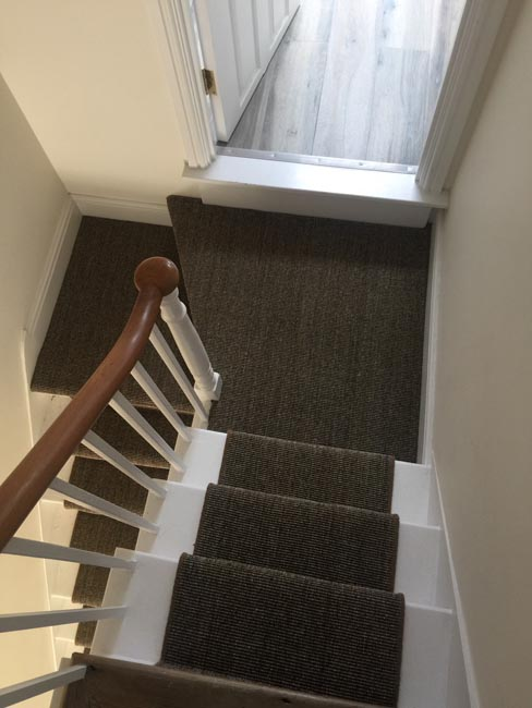 portfolio carpets dark sisal stairs installation runner 08