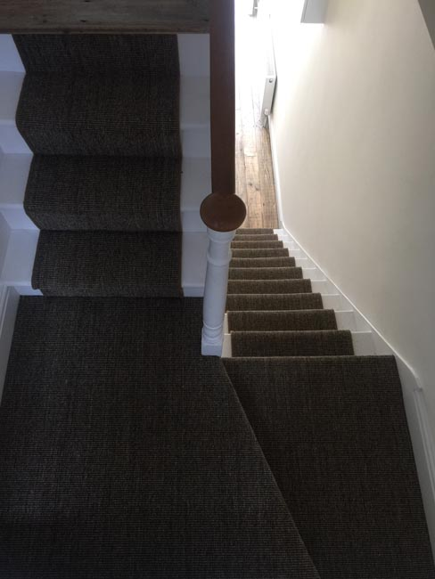portfolio carpets dark sisal stairs installation runner 09