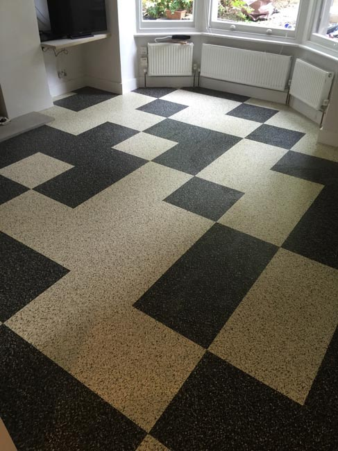 portfolio smooth floors black and white marmoleum pattern 01