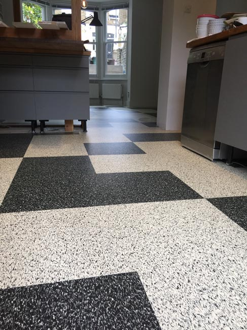 portfolio smooth floors black and white marmoleum pattern 03