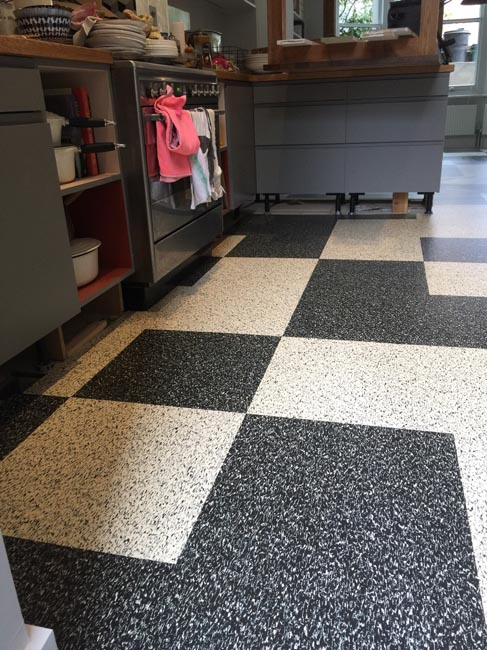portfolio smooth floors black and white marmoleum pattern 04