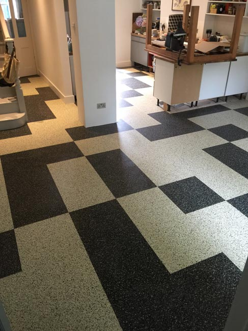 portfolio smooth floors black and white marmoleum pattern 06