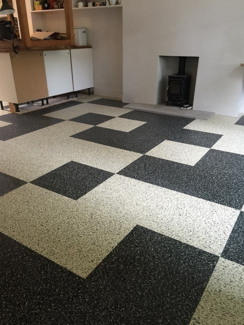 portfolio smooth floors black and white marmoleum pattern 08