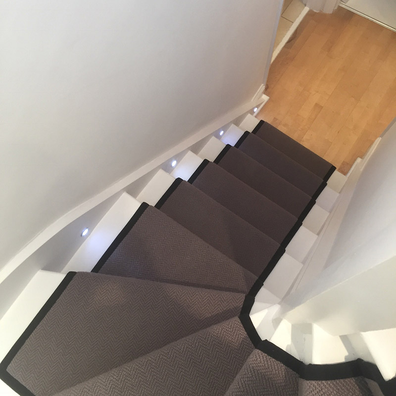 Grey Stair Runner With Black Binding On The Sides
