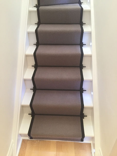 Portfolio Carpet Grey Stair Runner Rods Installation 1