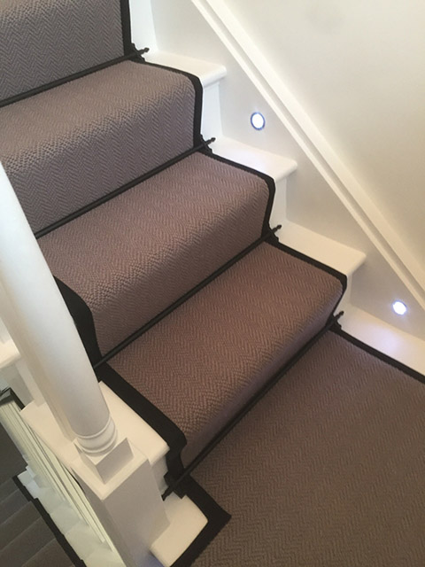 Portfolio Carpet Grey Stair Runner Rods Installation 12