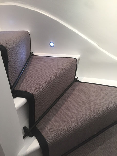 Portfolio Carpet Grey Stair Runner Rods Installation 3