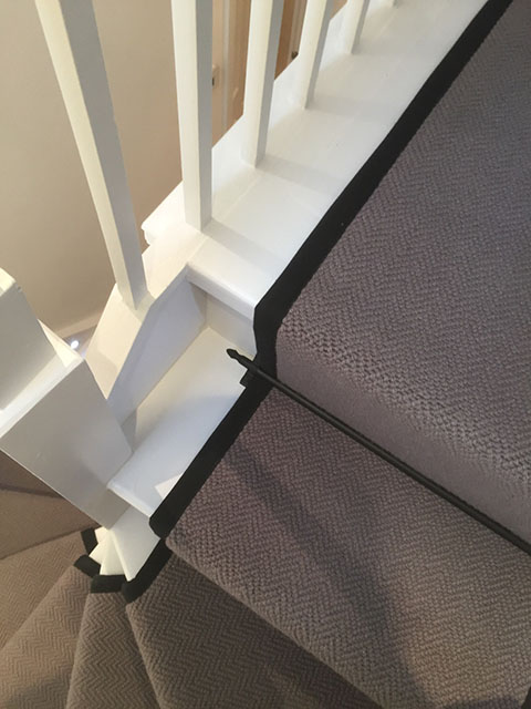 Portfolio Carpet Grey Stair Runner Rods Installation 6