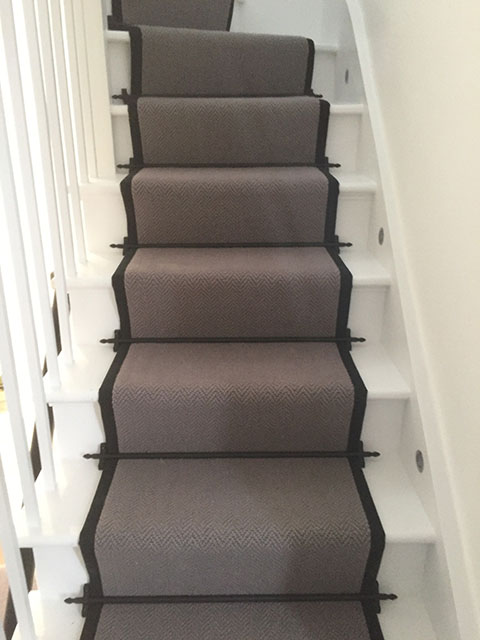 Portfolio Carpet Grey Stair Runner Rods Installation 8