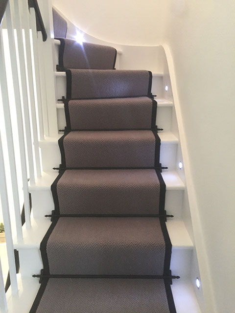 Portfolio Carpet Grey Stair Runner Rods Installation 9