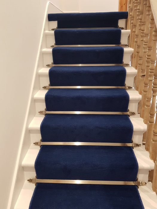 portfolio blue stair carpet as a runner with bronze stair rods 01