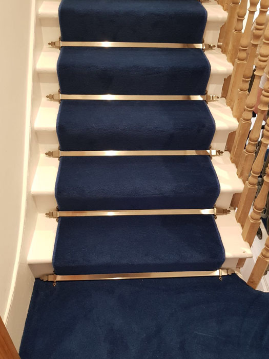 portfolio blue stair carpet as a runner with bronze stair rods 04