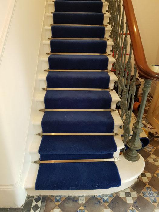 portfolio blue stair carpet as a runner with bronze stair rods 05
