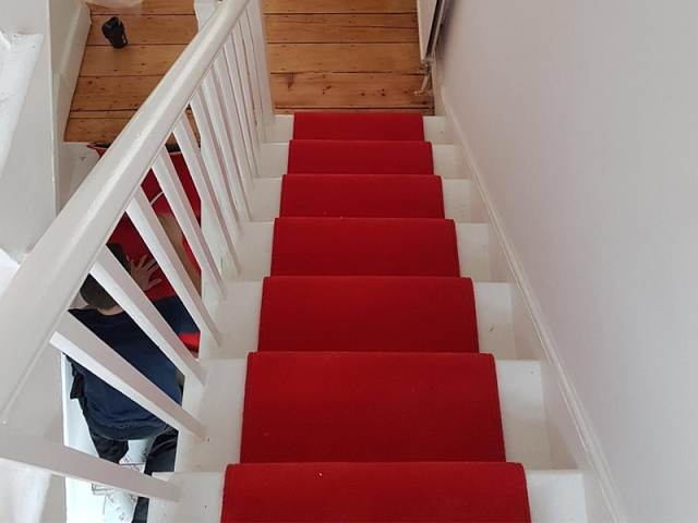 Red Stair Carpet Runner In Hackney