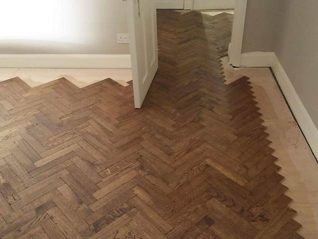 Herringbone Wood Flooring Installation In Southwark