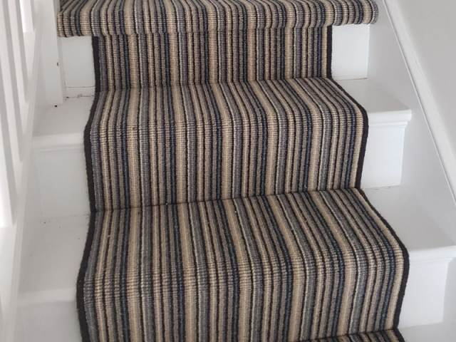 Striped Carpet Fitted To Stairs In Ealing