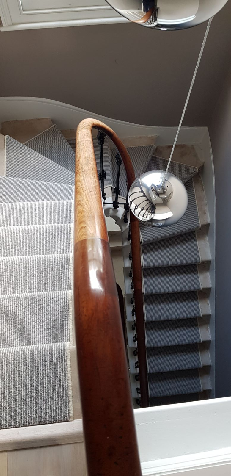 portfolio carpets GREY STRIPED CARPET WITH WHITE WHIPPING TO STAIRS (1)