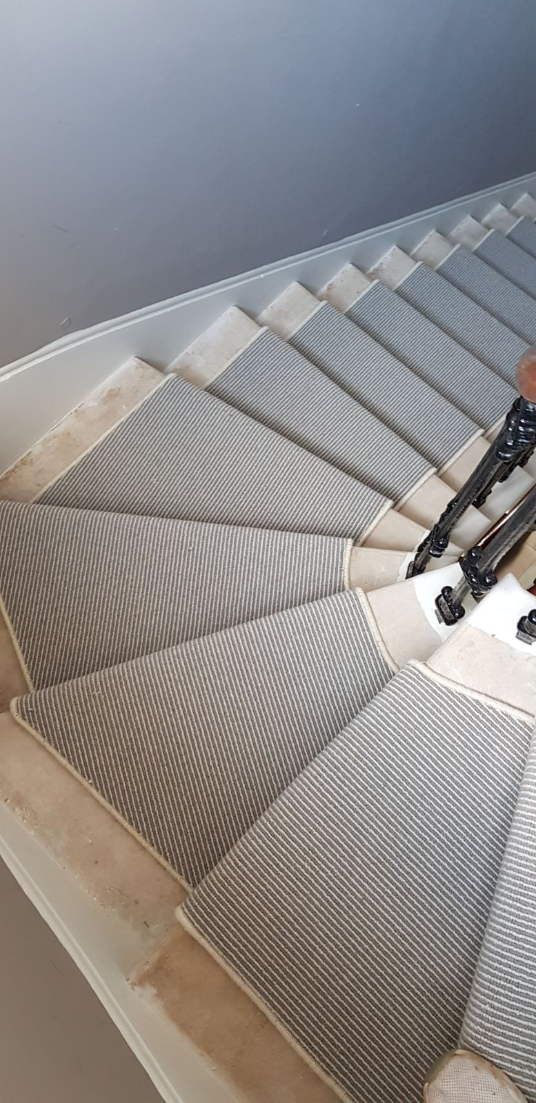 portfolio carpets GREY STRIPED CARPET WITH WHITE WHIPPING TO STAIRS (3)