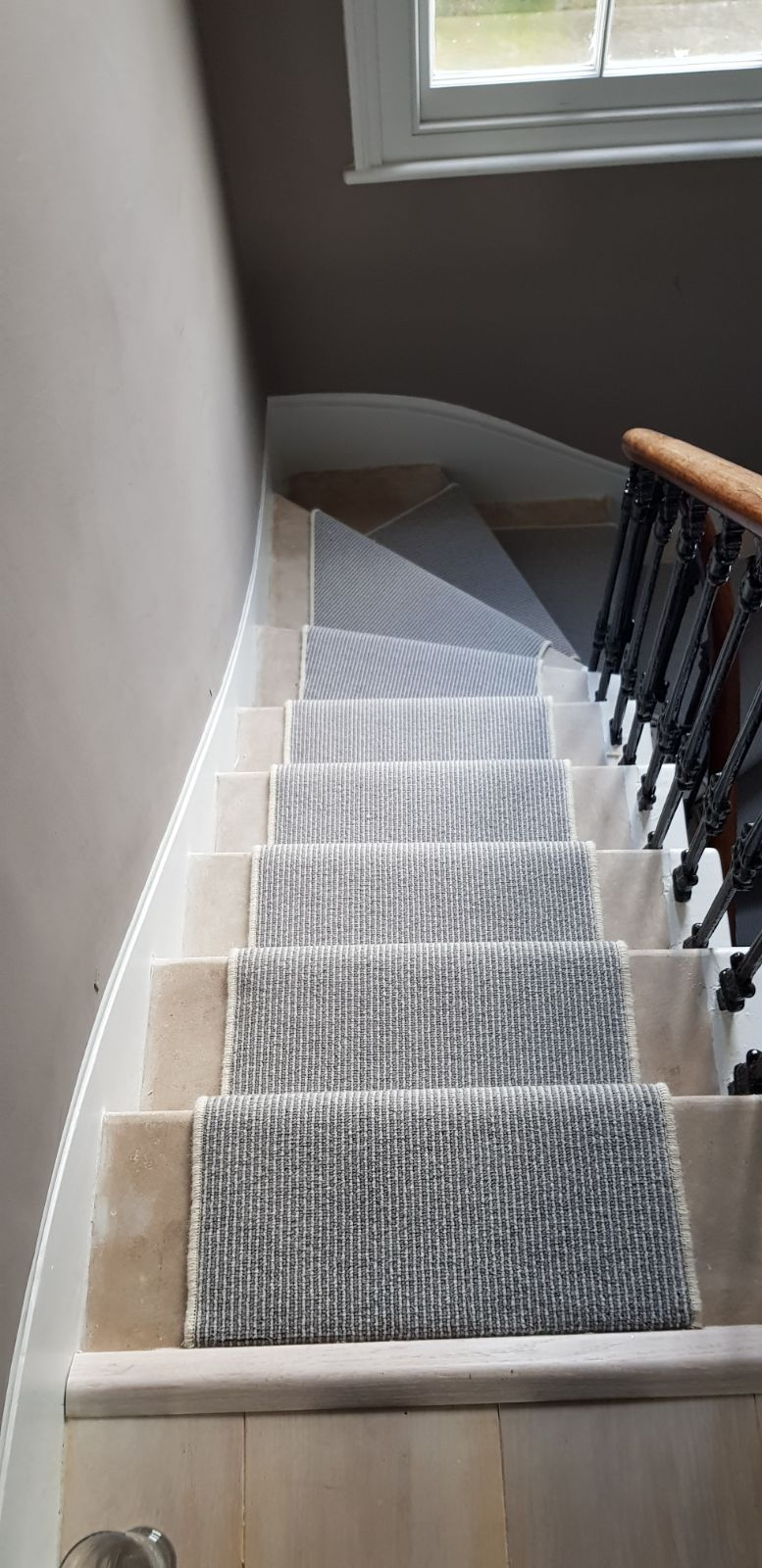 portfolio carpets GREY STRIPED CARPET WITH WHITE WHIPPING TO STAIRS (4)