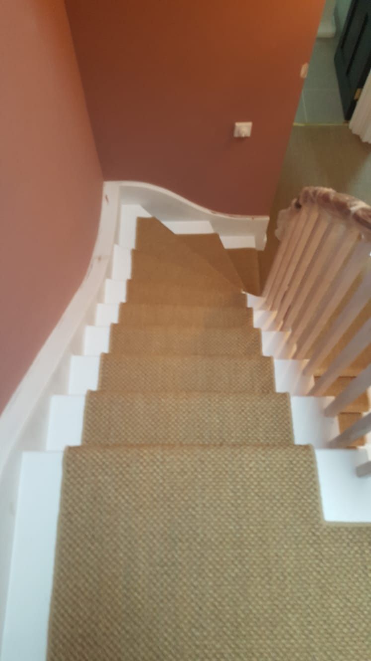 portfolio Sisal Carpet Installation To Stairs in Westminster (6)