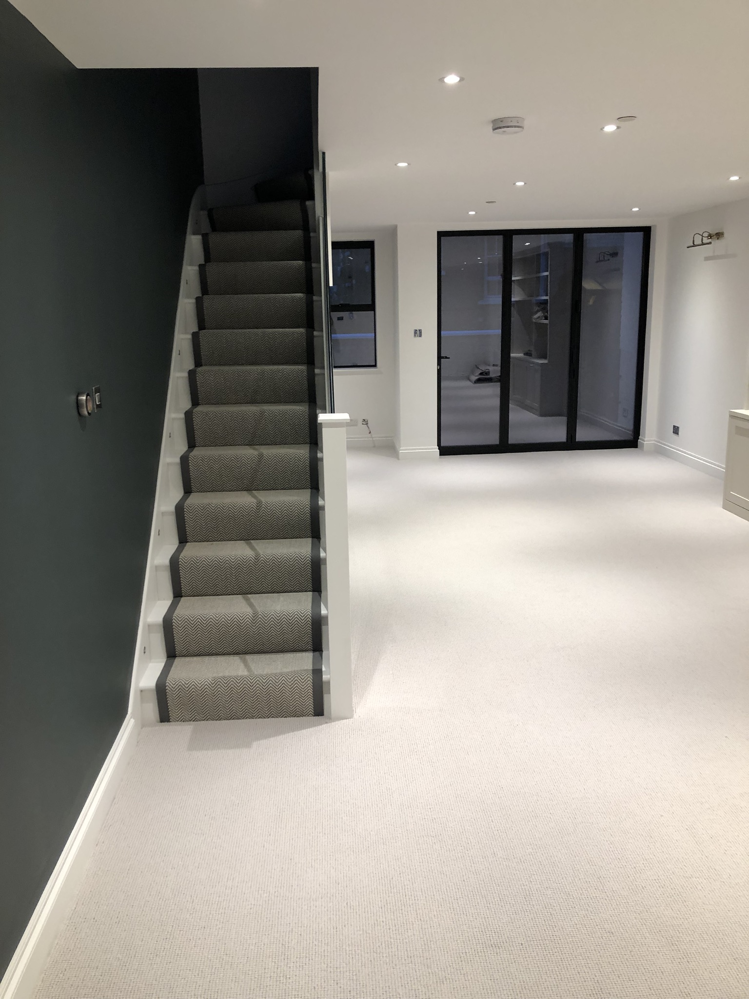 Fibre Flatweave Classic Herringbone Dapple carpet installed Battersea 1