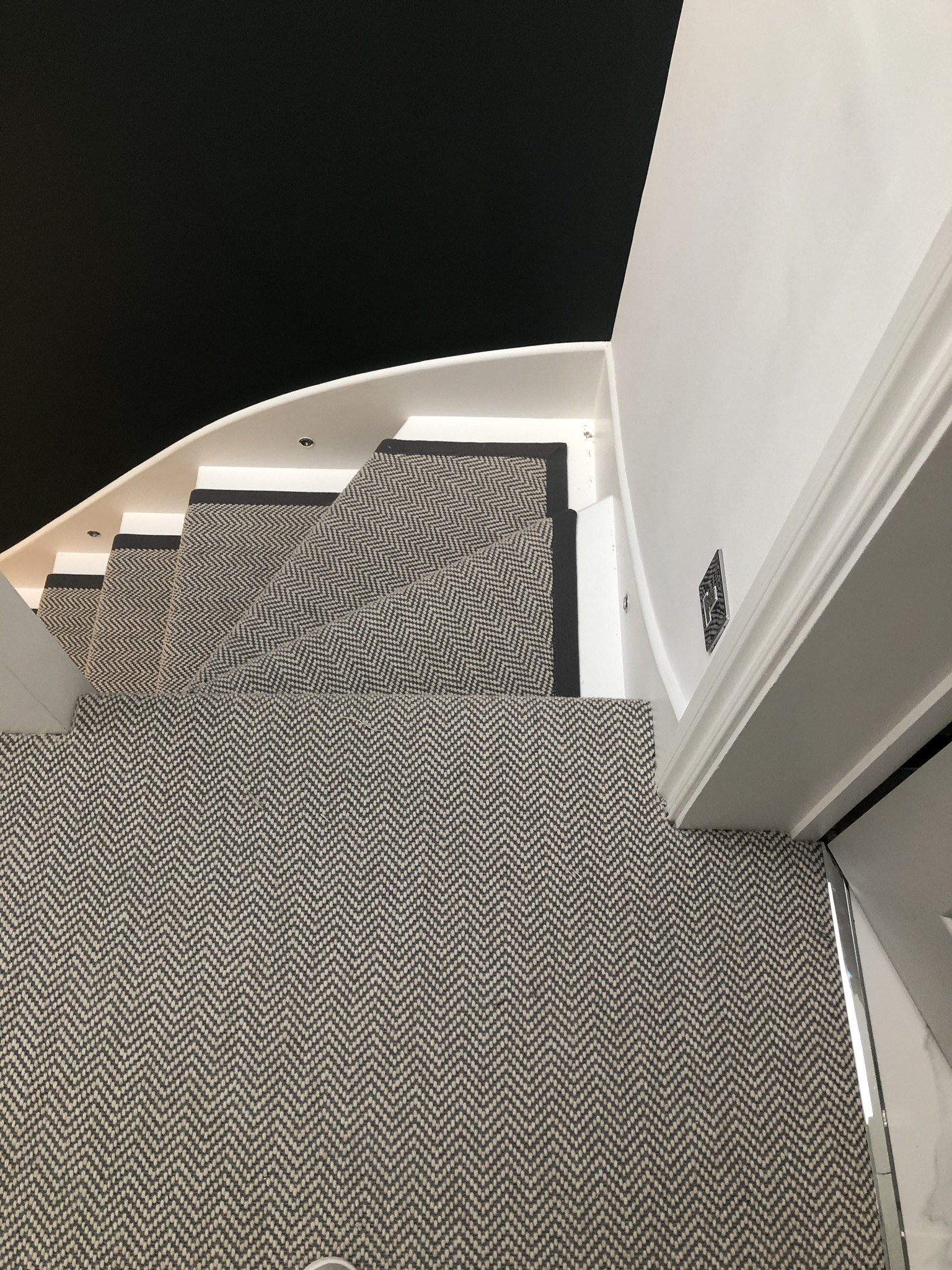 Fibre Flatweave Classic Herringbone Dapple carpet installed Battersea 5