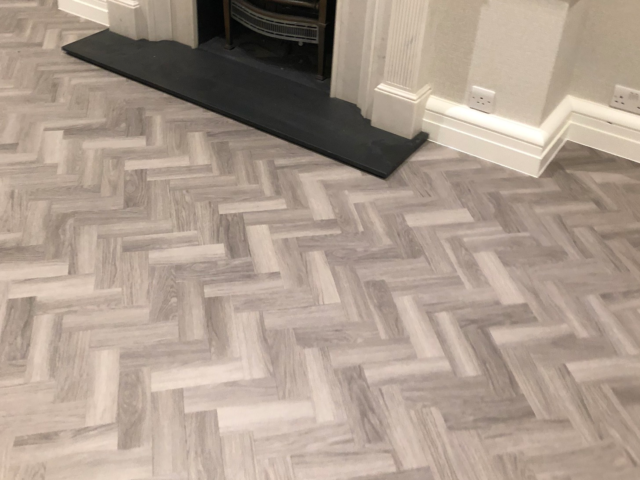 Amtico Spacia Nordic Oak luxury Vinyl Tile in Herringbone Design Installed in Wandsworth