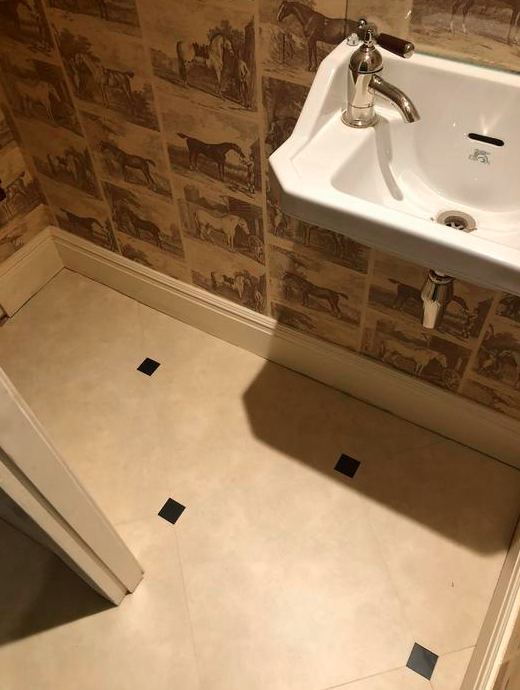 Amtico Signature Limestone Calico Luxury Vinyl Tile with Graphite Slate Key Installed in Westminster 2