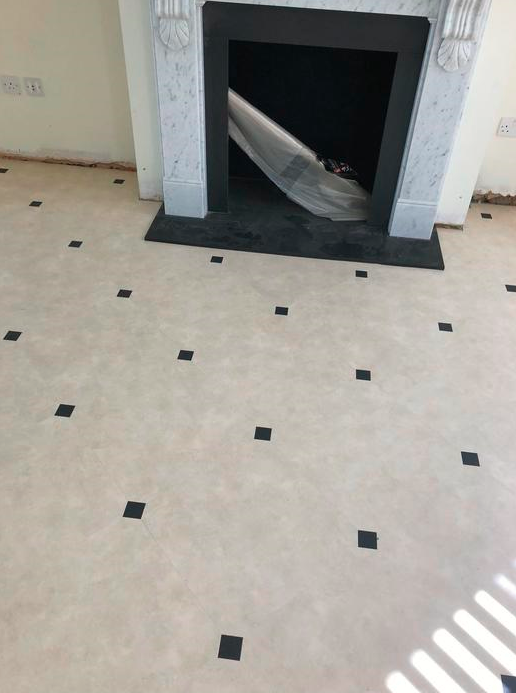 Amtico Signature Limestone Calico Luxury Vinyl Tile with Graphite Slate Key Installed in Westminster 5