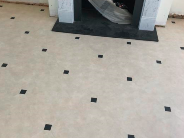 Amtico Signature Limestone Calico Luxury Vinyl Tile with Graphite Slate Key Installed in Westminster