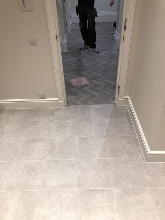 Amtico Spacia Plaza Concrete Luxury Vinyl Tile Installed in Southwark 3