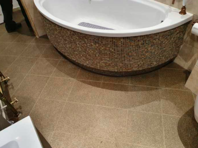 Amtico Spacia Ridge Shell Luxury Vinyl Tile Installed in Barnes