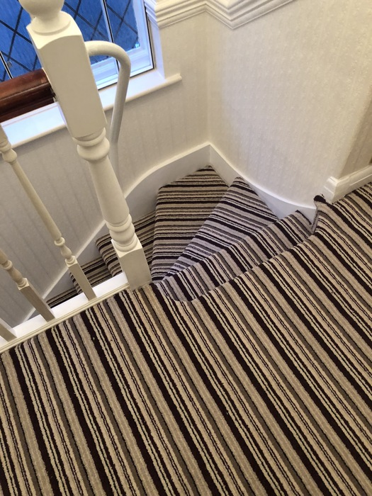 Stripy Carpet to Stairs Installed in Marylebone 1