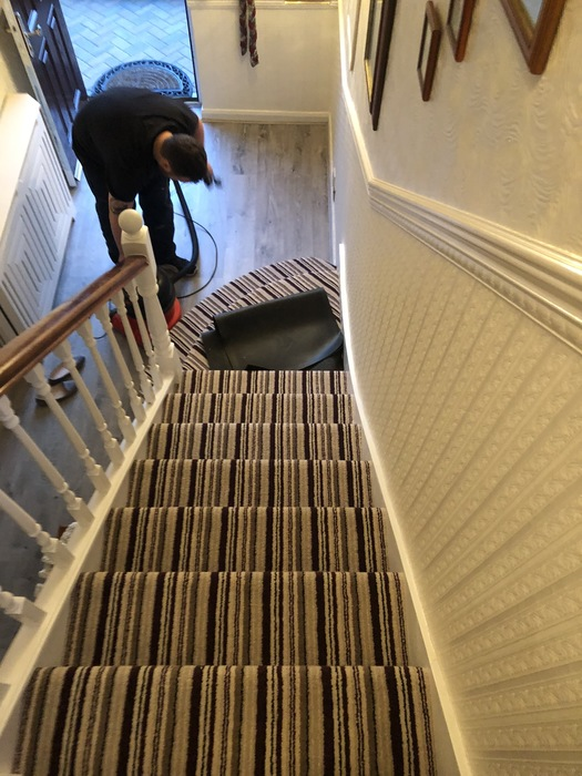 Stripy Carpet to Stairs Installed in Marylebone 2