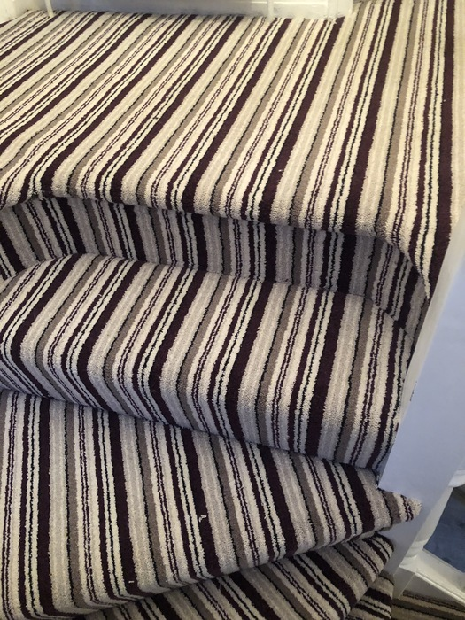 Stripy Carpet to Stairs Installed in Marylebone 3