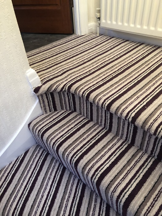 Stripy Carpet to Stairs Installed in Marylebone 4